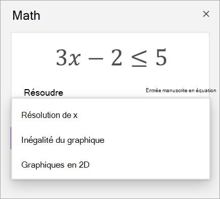Équation avec un menu déroulant permettant de la résoudre.