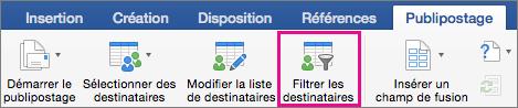 Cliquez pour filtrer la liste de fusion et publipostage