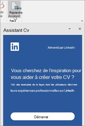 Sous l'onglet Révision, cliquez sur Assistant CV. Si elle est la première fois que vous avez utilisé l'Assistant de CV, cliquez sur prise en main.