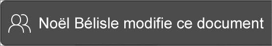 Message indiquant qui est en train de modifier un fichier.