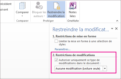 Volet Restreindre la modification