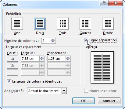Boîte de dialogue Colonnes avec l'option Ligne séparatrice