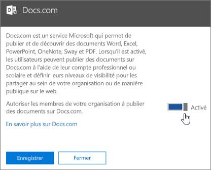Placez le curseur sur la position On pour permettre aux utilisateurs de votre organisation de publier du contenu sur Docs.com.