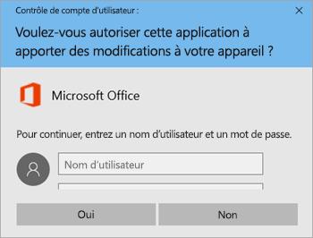 Capture d'écran montrant la fenêtre Contrôle de compte d'utilisateur