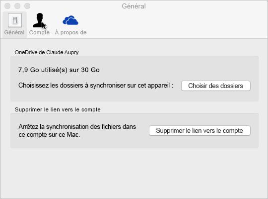 Sélection de dossier de synchronisation dans OneDrive pour Mac