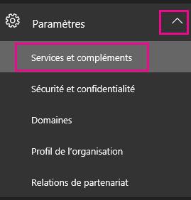 Dans le volet de navigation de gauche, cliquez sur Paramètres, puis sur Services et compléments.