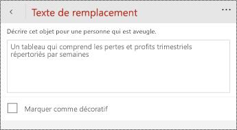 Boîte de dialogue texte de remplacement pour les tableaux dans PowerPoint pour les téléphones Windows.