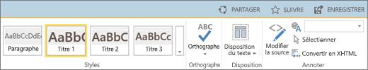 Section du ruban SharePoint Online avec les contrôles Partager, Suivre et Enregistrer