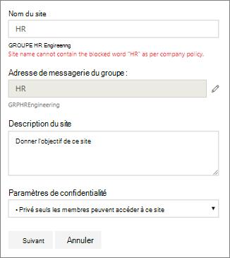 Capture d'écran: Stratégie d'attribution de nom de groupe - SharePoint Site bloqués nom