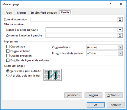 Options Mise en page > Feuille