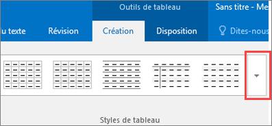 Capture d'écran des 6premiers styles de tableau et du bouton Autres permettant d'afficher tous les styles de tableau.