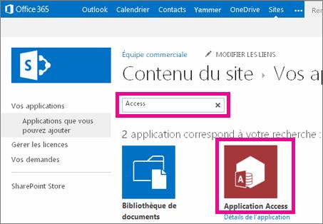 Rechercher une application Access à partir de la page Ajouter une application dans SharePoint
