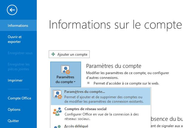 L'option Paramètres du compte est accessible dans le volet Informations sur le compte.
