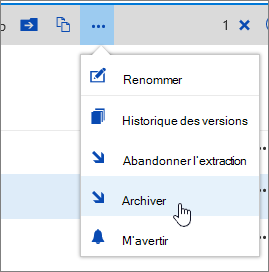Menu document avec archiver mis en surbrillance