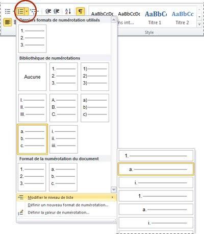 Modifier le niveau de liste de Word2010