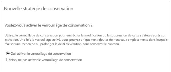 Option permettant d'activer le verrouillage de conservation