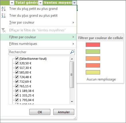 Options du filtrage par couleur