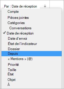 Affiche la sélection à partir du menu par