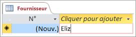 Partie d'un écran montrant une référence dans une table Fournisseur
