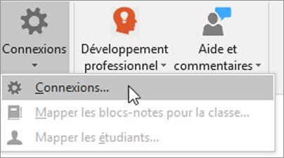 Sélectionnez Connexions dans l'onglet Bloc-notes pour la classe.