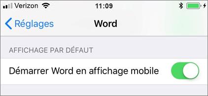 Paramètre Démarrer Word en affichage mobile sélectionné