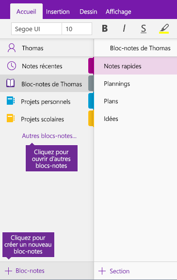 Capture d'écran illustrant la création d'un bloc-notes OneNote