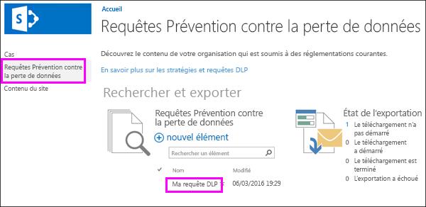 Option de requêtes de prévention des pertes de données