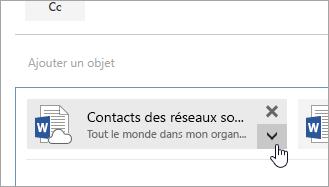 Capture d'écran du bouton Autres actions.