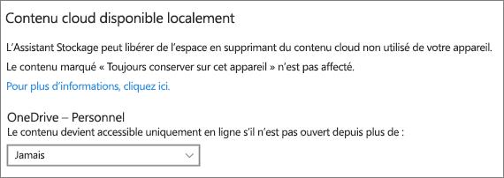 Liste déroulante du stockage Windows 10 pour sélectionner le mode de création de fichiers OneDrive en ligne uniquement