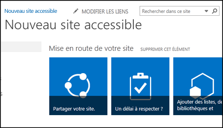 Capture d'écran d'un nouveau site SharePoint montrant les vignettes utilisées pour personnaliser le site