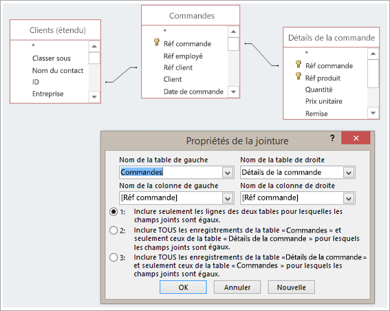 Capture d'écran de trois tables et de leurs propriétés de jointure