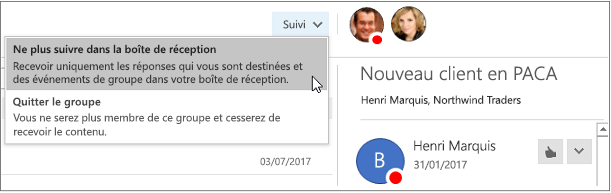 S'abonner bouton dans l'en-tête de groupe dans Outlook 2016