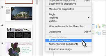 Diapositive avec la commande Prendre une photo sélectionnée dans le menu contextuel