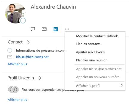 Sélectionnez lier les contacts pour mettre à jour les informations d'un autre enregistrement contact.