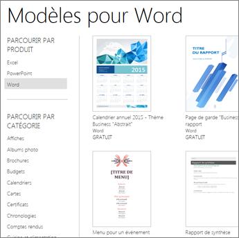 Modèles Word en ligne