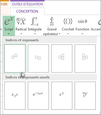 Bouton Exposant dans la barre d'outils d'équation