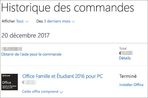 Affiche la page Historique des commandes dans le Microsoft Store