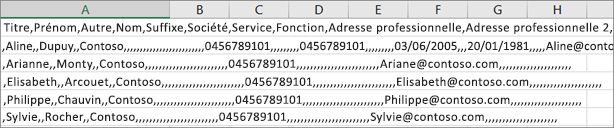 Exemple de fichier .csv enregistré au format .xls.