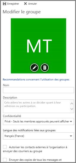 Cliquez sur les recommandations concernant l'utilisation des groupes pour consulter les recommandations relatives aux groupes Office365 de votre organisation