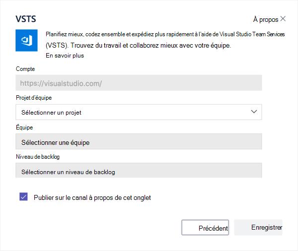 Boîte de dialogue Visual Studio pour ajouter un tableau Kanban à un onglet