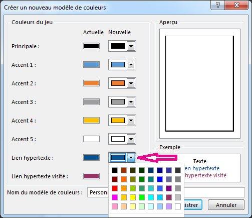 Créez un jeu de couleurs Publisher pour changer les couleurs des liens hypertexte