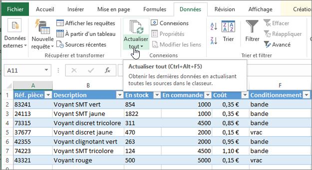 Feuille de calcul Excel avec liste importée et un bouton Actualiser tout mis en surbrillance.