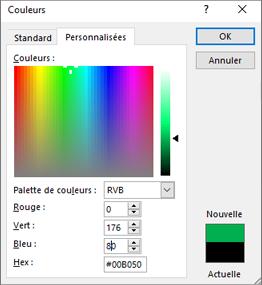 Affiche les couleurs personnalisées