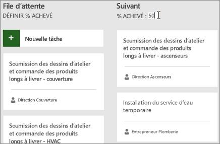 Capture d'écran du tableau de tâches, avec le curseur entrant le numéro 50 pour le pourcentage achevé