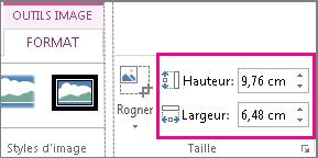 Zones Hauteur et Largeur sous l'onglet Outils Image - Format