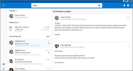 Affichage côte à côte des résultats de recherche de contacts et des courriers du contact sélectionné