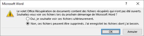 Boîte de dialogue enregistrement de récupération de document