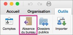 Dans l'onglet Outils, cliquez sur Absent(e) du bureau.