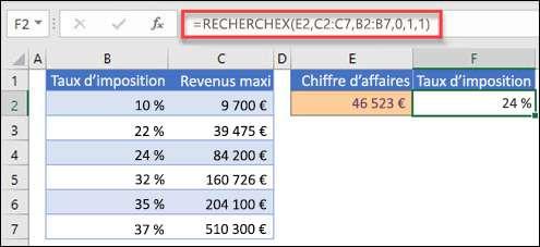 Image de la fonction XLOOKUP utilisée pour renvoyer un taux d'imposition basé sur le revenu maximal. Il s'agit d'une correspondance approximative. Formule: = XLOOKUP (E2; C2: C7; B2: B7; 1; 1)