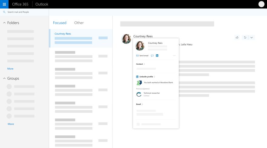 Carte de profil dans Outlook